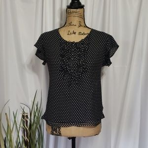 Talbots Pure Silk Polka Dotted Blouse